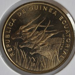 Central African States 25 FRANCS 1985 KM# 10 Aluminum-Bronze, Three giant eland