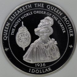 1997 Pitcairn Islands 1 DOLLAR KM# 10 Proof Copper-Nickel British Queen Mother