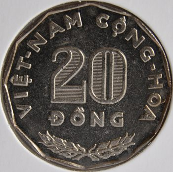 South Vietnam 20 Dong 1968 KM# 11, CHIEN-TICH THE-GIOI CHONG NAM DOI