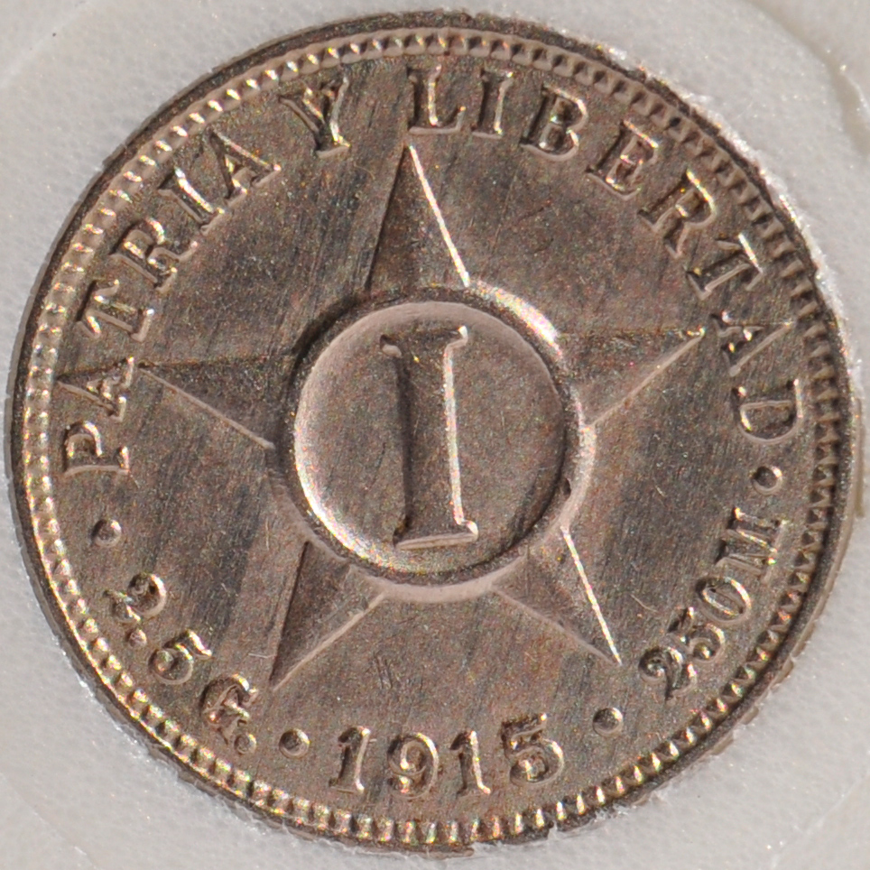 1915 Cuba CENTAVO KM# 9.1 (2.5 G.) first year rare coin