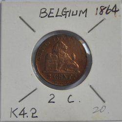 2 Centimes Belgium 1864