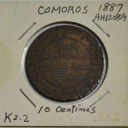 10 Centimes Comoros 1887 AH1308 A