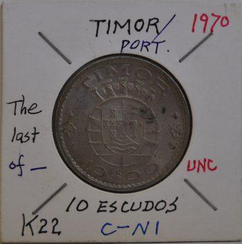 10 ESCUDOS Timor 1970