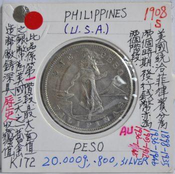 Peso Philippines USA 1908