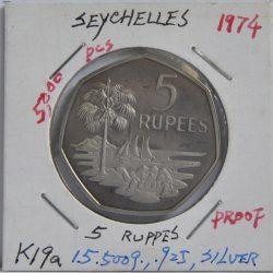5 RUPEES Seychelles 1974