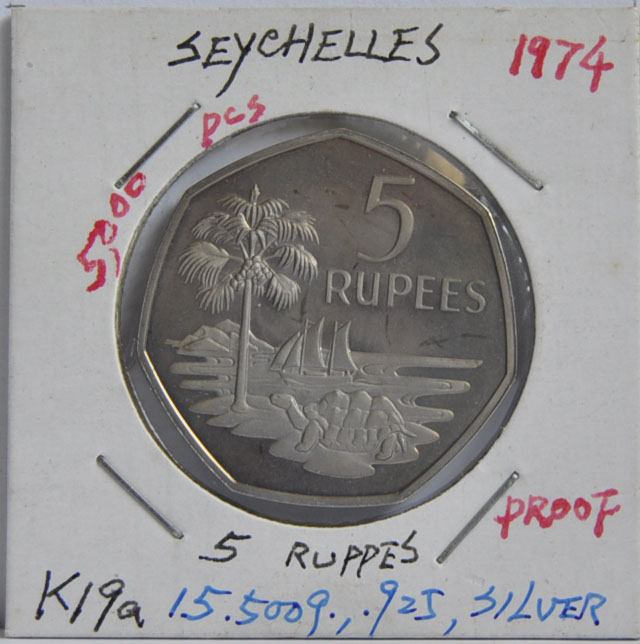 5 RUPEES Seychelles 1974