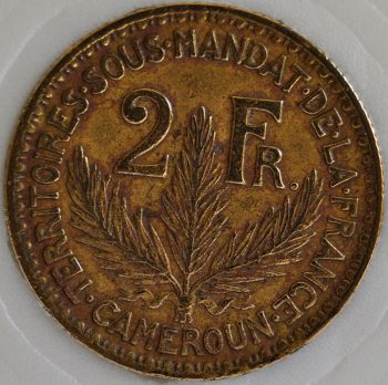 1924 Cameroon French Colonial 2 FRANCS KM# 3 Laureate scarce coin