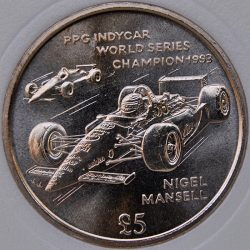 1994 AA Isle Of Man 5 POUNDS KM# 399 Virenium Indycar World Series Champion