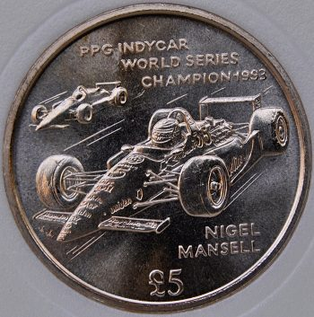 1994 AA Isle Of Man 5 POUNDS KM# 399 Virenium Indycar World Series Champion