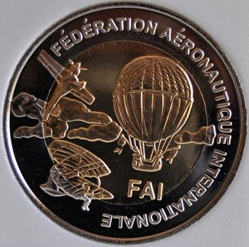 1997 Finland 5 Euro X# 44 Bi-Metallic Skysurfing 1st World Air Games Turkey