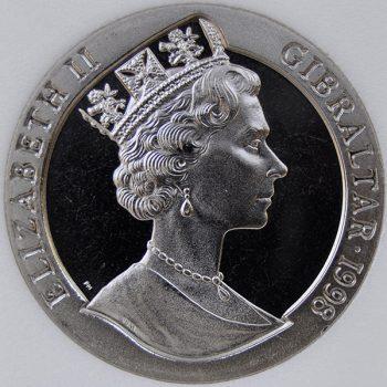 1998 Gibraltar 1 CROWN KM# 768 Proof Copper-Nickel Soldier presenting keys coin