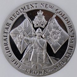 1998 Gibraltar 1 CROWN KM# 768 Proof Copper-Nickel Soldier presenting keys coin