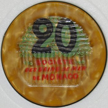Monte Carlo Casino Chip 20 francs 1920's - 1950's back