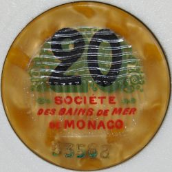 Monte Carlo Casino Chip 20 francs 1920's - 1950's Front