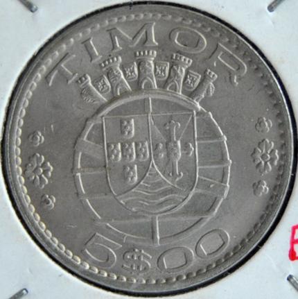 Timor Portuguese Colony 5 ESCUDOS 1970