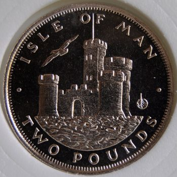 1986 Isle of Man 2 POUNDS KM# 167 rare Virenium Tower of Refuge coin
