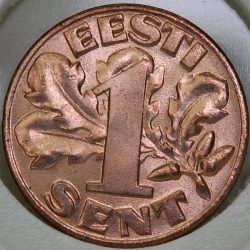 1929 Estonia SENT KM# 10 Bronze, first year