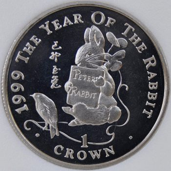 1999 Gibraltar 1 CROWN KM# 783.1 Proof Copper-Nickel Peter Rabbit reading coin