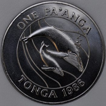 1986 Tonga 1 PA'ANGA KM# 128 copper-Nickel whales Anniversary of WWF