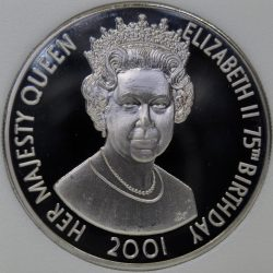 2001 Tristan Da Cunha 50 PENCE 2001 KM#12 Proof Queen Elizabeth's 75th coin