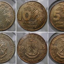 1987 Guinea Set 3 coins 5 10 25 Francs KM# 53 52 60 Brass