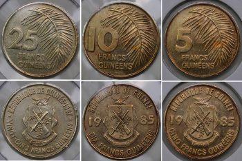 1987 Guinea Set 3 coins 5 10 25 Francs KM# 53 52 60 Brass