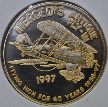 1997 California Gateway coin club Merced Antique Fly-in Golden bronze UNC coin