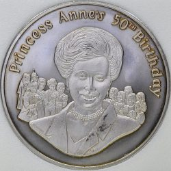 2000 Tristan Da Cunha 50 PENCE KM# 11 Princess Anne's 50th Birthday coin