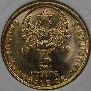 1999 Mauritania 5 OUGUIYA MS65 KM# 3 Aluminum-Bronze