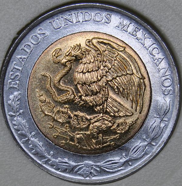1992 Mexico 1 NUEVOS PESO KM# 550 UNC Bi-Metallic coin