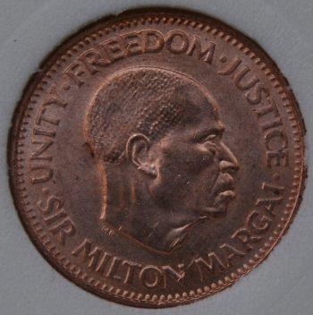 1964 Sierra Leone 1/2 CENT KM# 16 MS65-70 Bronze first year coin