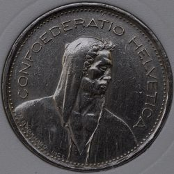 1968 Switzerland 5 FRANCE KM# 40a.1 coin