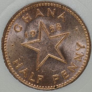 1958 Ghana 1/2 PENNY KM# 1 Bronze first year coin