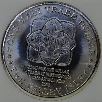 2005 Hawaii MAUI trade 1 DOLLAR Bat Rays in the surf Copper-Nickel Proof coin