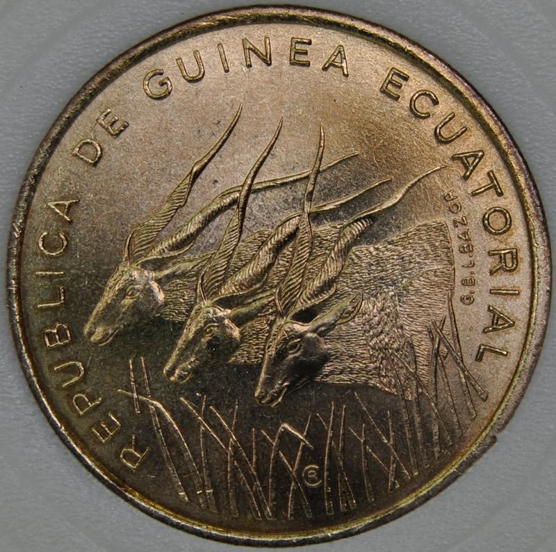 1985 Equatorial Guinea 25 FRANCOS KM# 60 MS67 Aluminium-Bronze coin