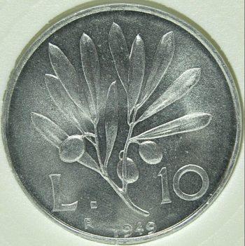 1949 Italy 10 LIRE KM# 90 Aluminium