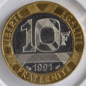 1991 France 10 FRANCS KM# 964.1 MS63 Bi-Metallic coin
