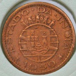1959 India Portuguese 10 CENTAVOS KM# 30