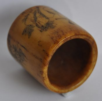 Antique Deer Bone Ring with two Carved Kids