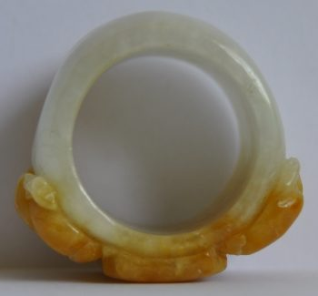 Antique Jade Ring with a pair of carved Dragons